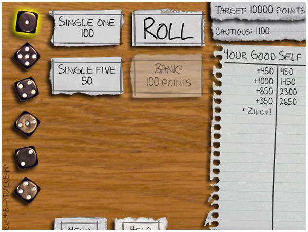 rules for dice game called zilch