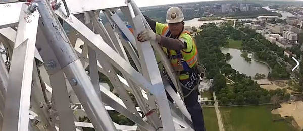 Helmet Cam of Scaffolding Workers, High Atop the Washington Monument
