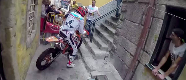 Helmet Cam Video: Two Motorbikes Race Through the Streets of Lagares, Portugal