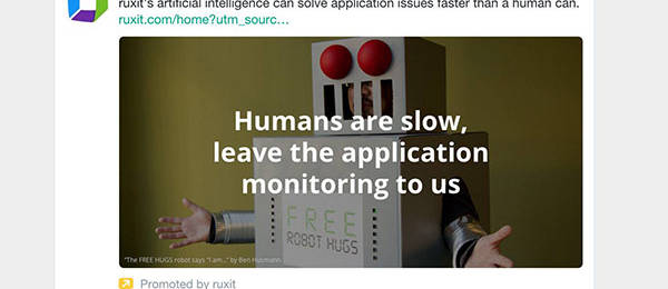 Ben's Photo of Me in a Robot Costume Shows Up as a Twitter Ad for Ruxit