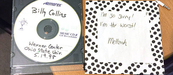 An Old Item Returned: Billy Collins CD, 1998 Reading at the Wexner Center, Columbus, OH