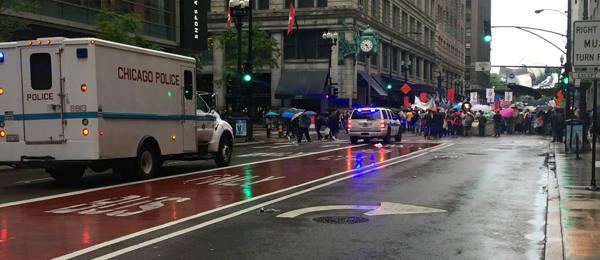 Protestors in the Rain